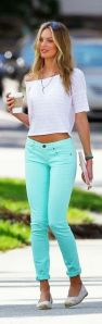Mint skinnies.white crop top.